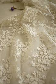 beige wedding fabric french embroidered lace bridal lace fabric