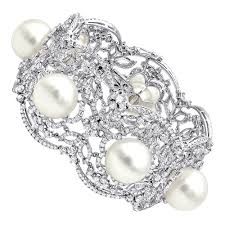 bracelet diamond pearl images Art deco white south sea pearl and diamond bracelet for women 18k gold jpg