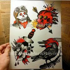 neo traditional traditional flash print skull