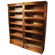 Barrister Bookcases With Glass Doors Antique Oak Barrister Bookcases With Leaded Glass Doors By Globe
