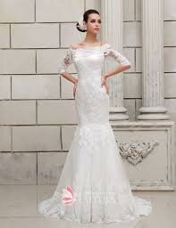 wedding dresses the shoulder sleeves charming the shoulder lace dropped waist sleeve mermaid