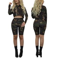 army pattern crop top women shorts sets 2017 camouflage suits long sleeve camo crop tops 2