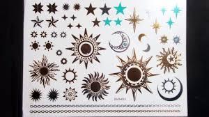 gold sun stars temporary henna tattoos transfer silver arm fake