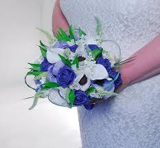 wedding flowers royal blue bridal wedding bouquet royal blue roses silk anemone