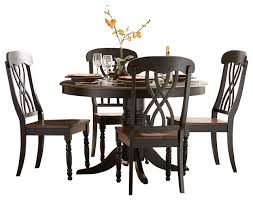 Homelegance Ohana Round Pedestal Dining Table In Black And Cherry - Ohana white round dining room set