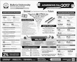 M S University by Admission Open In Bahria University Karachi 28 May 2017