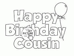 happy birthday cousin coloring page for kids holiday coloring