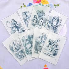 Mad Hatter Decorations Edible Alice In Wonderland Illustrations X 8 Black U0026 White Wafer