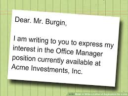 write a letter of application for a job cover letter