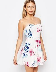 Lipsy Ariana Grande For Lipsy Floral Print Bandeau Prom Dress