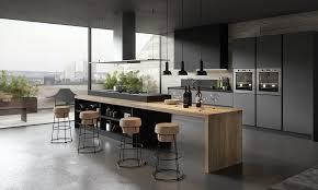 cuisine gris foncé cuisine moderne gris anthracite et bois