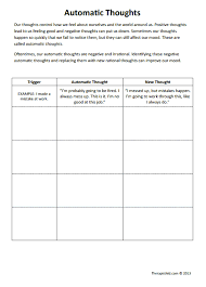 automatic thoughts worksheet therapist aid