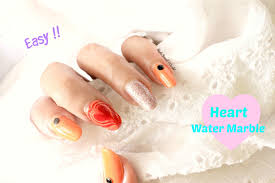 easy heart water marble nail art design how to make diy water