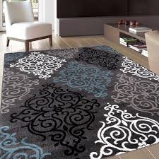 Modern Black Rug Modern Transitional Soft Damask Grey Area Rug 5 3 X 7 3 Rug