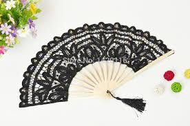 black lace fan 2018 wholesale handmade cotton lace fans folding fan for