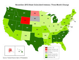 Map Of The States In The United States by Calculated Risk Philly Fed State Coincident Indexes Increased In