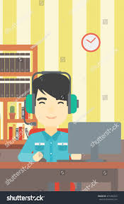 asian man playing computer game on stock vector 471082433
