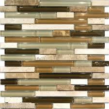 SFMarble Travertine Stone Green Brown Glass Linear Mosaic Tile - Stone glass mosaic tile backsplash
