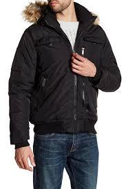 hooded motorcycle jacket ben sherman detachable faux fur trim hooded bomber jacket in black