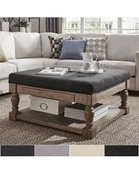 sweet deal on lennon baluster pine storage tufted cocktail ottoman