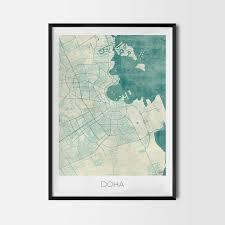 Doha Map Doha Gift Map Art Prints And Posters Home Decor Gifts