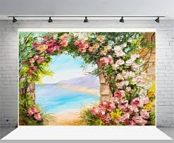 laeacco round arch flowers garden gate sea scenic oil painting