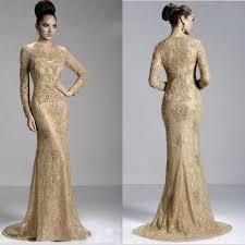 gold long sleeve jewel evening dress zipper sweep train