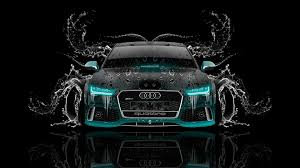 audi rs7 front tony kokhan audi rs7 front water car azure neon black el tony cars