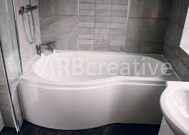 modern bathroom design and installation p shaped bath with chrome and glass shower screen bathroom 2