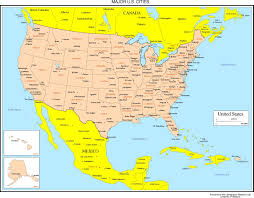 North America Map With Cities by Map Maps Of The United States Usa Map With States And Cities Usa