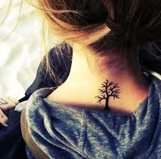 black ink small tree tattoo design on upper back golfian com