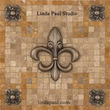 kitchen medallion backsplash contemporary fleur de lis backsplash medallion mosaic tile and metal