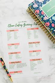 free printable clean eating grocery list reflections of 2016