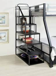 twin metal loft bed with desk and shelving amazonsmile furniture of america metal bunk bed side ladder