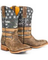 tin haul american flag dogtag cowboy boots square toe sheplers
