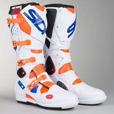 motocross boots sidi crossfire 2 srs motocross boots orange fluorescent white blue