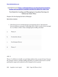 download test bank for leading and managing in canadian nursing