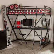 Small Loft Bedroom Furniture Modern Silver Polished Iron Loft Bunk Bed With Gray Metal Desk And