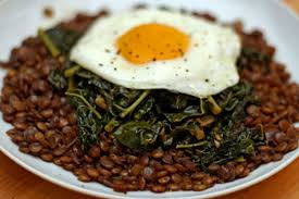 dinner egg recipes dinner tonight braised lentils with winter greens and a fried egg