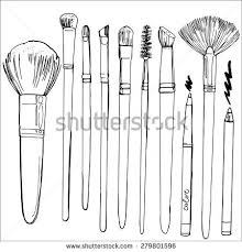 set brushes makeup painted line sketch stock vector 279801596