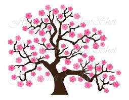 digital clip pink cherry blossom tree clipart bonsai