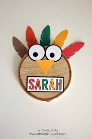 woodslice turkey thanksgiving place cards make it and it