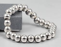 metal beads bracelet images Limited edition high polish silver stainless steel beads bracelet jpg
