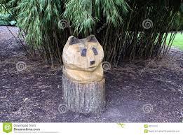 panda sculpture wood carving garden decoration stock image image