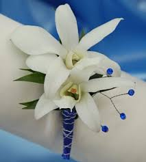 Blue Orchid Corsage White Orchid Boutonniere Blue