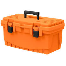 the home depot 19 in plastic tool box with metal latches and