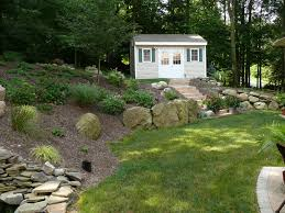 Landscaping Ideas Hillside Backyard Triyae Com U003d Sloped Backyard Ideas Various Design Inspiration