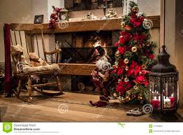 classic christmas house interior with fireplace and christmas tr