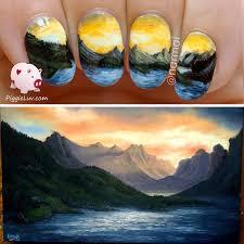 freehand cloud design nail art tutorial piggieluv freehand mountain landscape nail art