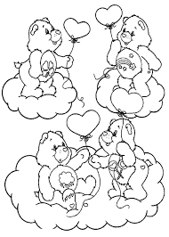 care bears playing friends rainbow colouring happy